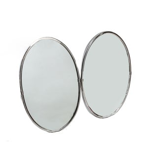 Oval Chrome Wall Mirrors - Pair
