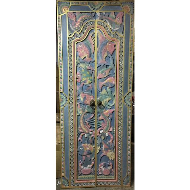 Balinese Hand Carved Sealife Motif Door Panels - Image 2 of 9