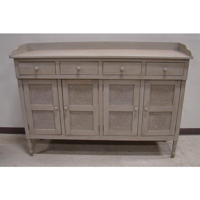 Gray Paint Vintage Style Hutch Server Pie Cabinet - Image 3 of 4