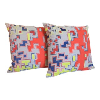 Modern Embroidered Geometric Pillows - A Pair