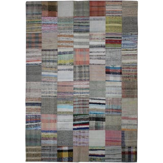 "Aara Rugs Inc. Hand Knotted Patchwork Kilim - 9'2"" X 6'11"""