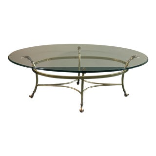 La Barge Style Oval Glass & Brass Cocktail Table