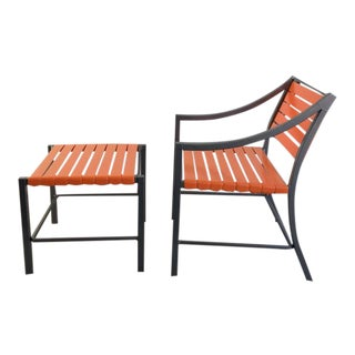 Outdoor Chairs and Ottomans by Brown Jordan - A Pair
