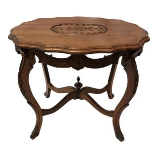Vintage Wood Carved Walnut Side Table