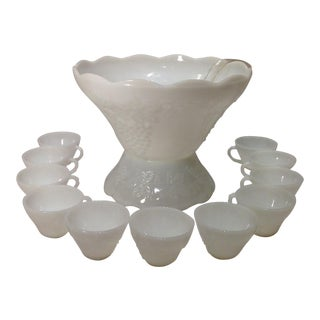 Vintage Milk Glass Punch Bowl & Cups