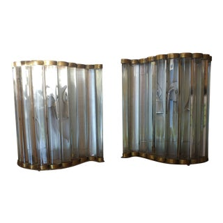 Glass & Bronze Art Deco Wall Sconces - A Pair