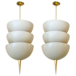 Modernist Ivory and Brass Pendant Lights - A Pair
