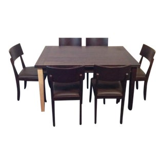Crate & Barrel Danish Made Natural and Stained Oak Dining Set