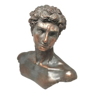 Vintage Neoclassical Roman Plaster Male Bust of David