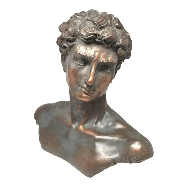 Vintage Neoclassical Roman Plaster Male Bust of David - Image 1 of 6