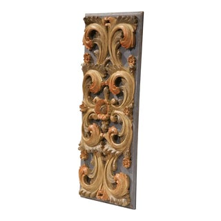 Mid-20th Century Italian Carved Polychrome Wood Decorative Panel