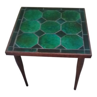 Mid Century Danish Tile Green Side Table