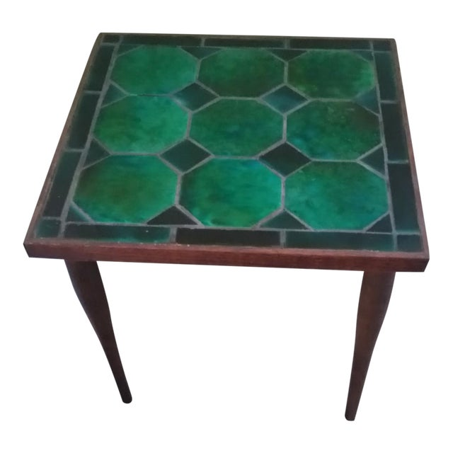 Image of Mid Century Danish Tile Green Side Table