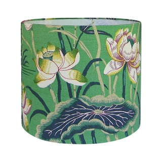 New, Made to Order, Medium Drum Lamp Shade, Schumacher Lotus Garden Jade Floral Fabric