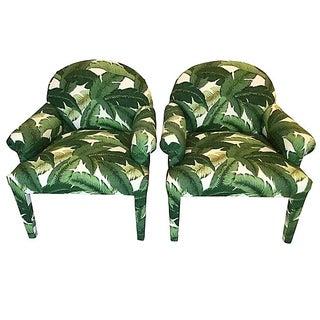 Palm Leaf Print Armchairs - A Pair