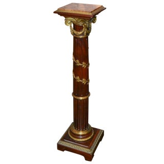 French Mahogany & Gilt Bronze Pedestal