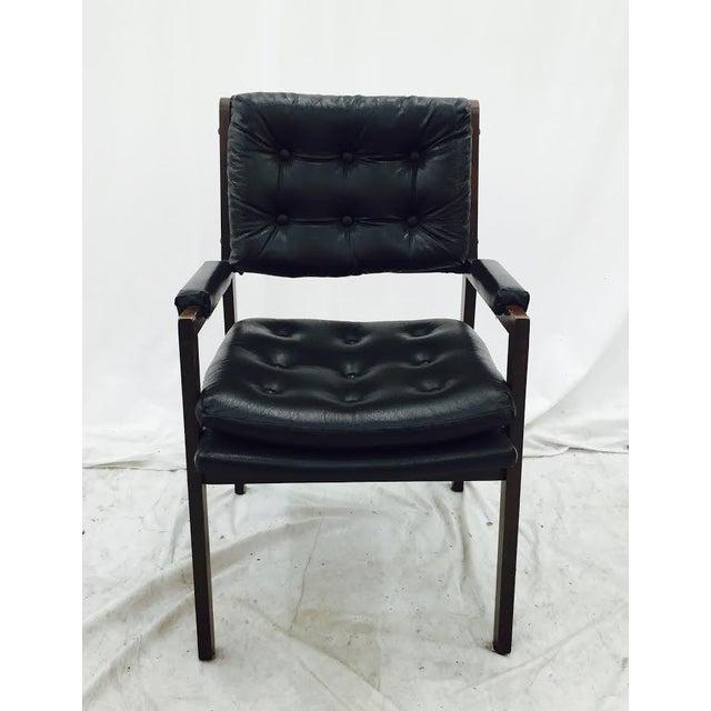 Vintage Milo Baughman Style Black Wood Desk Chair Chairish