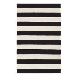 Handmade Black & White Striped Wool Kilim Rug - 5' x 7'