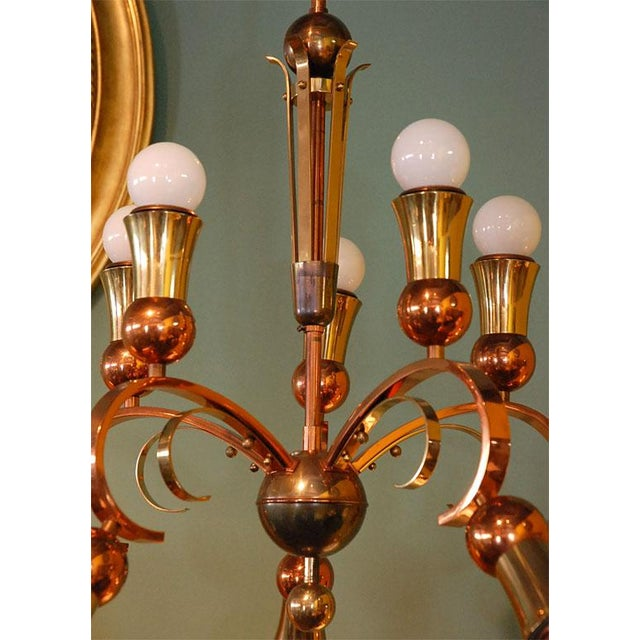 Brass and Copper Chandelier - Image 3 of 10