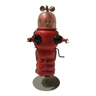Vintage 1950's Tin Mechanical Astronaut Toy With Original Stand