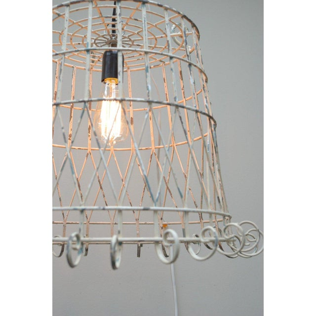 Antique Pendant Wire Cage Lamp - Image 3 of 5