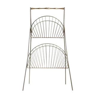 Vintage Steel & Brass Magazine Rack
