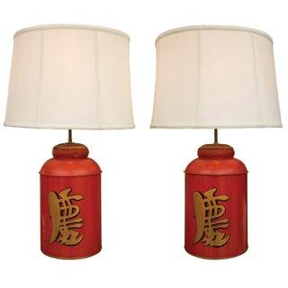 19th Century Asian Tea Tin Lamps - A Pair