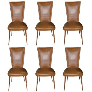 1940s Vintage French Art Deco Walnut Dining Chairs - Set of 6