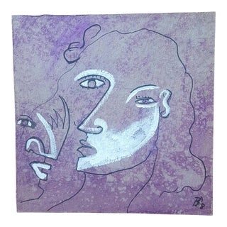 Abstract Purple & White Profile Drawing