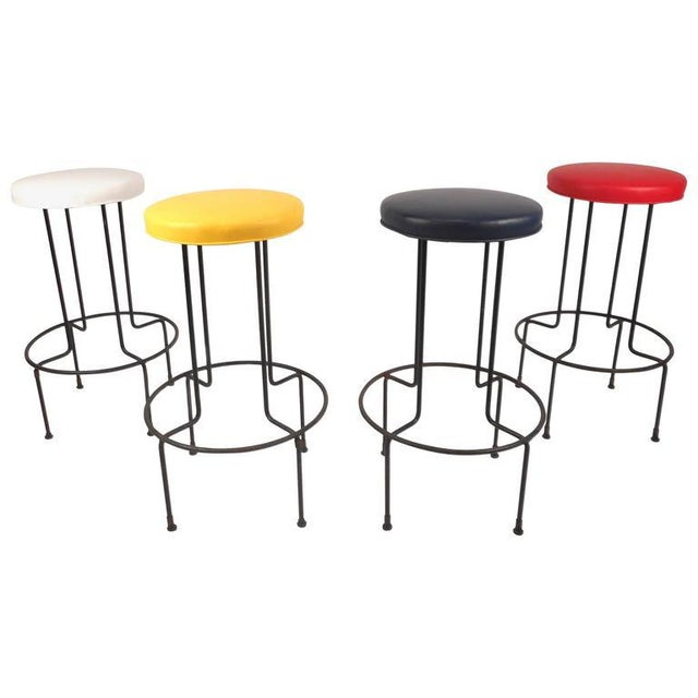 Set of Mid-Century Modern Wrought Iron Bar Stools by Frederick Weinburg - Image 4 of 8