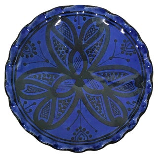 Moroccan Hand Painted Ink Blue Ceramic Plate