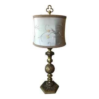 Antique Solid Brass Filigreed Lamp