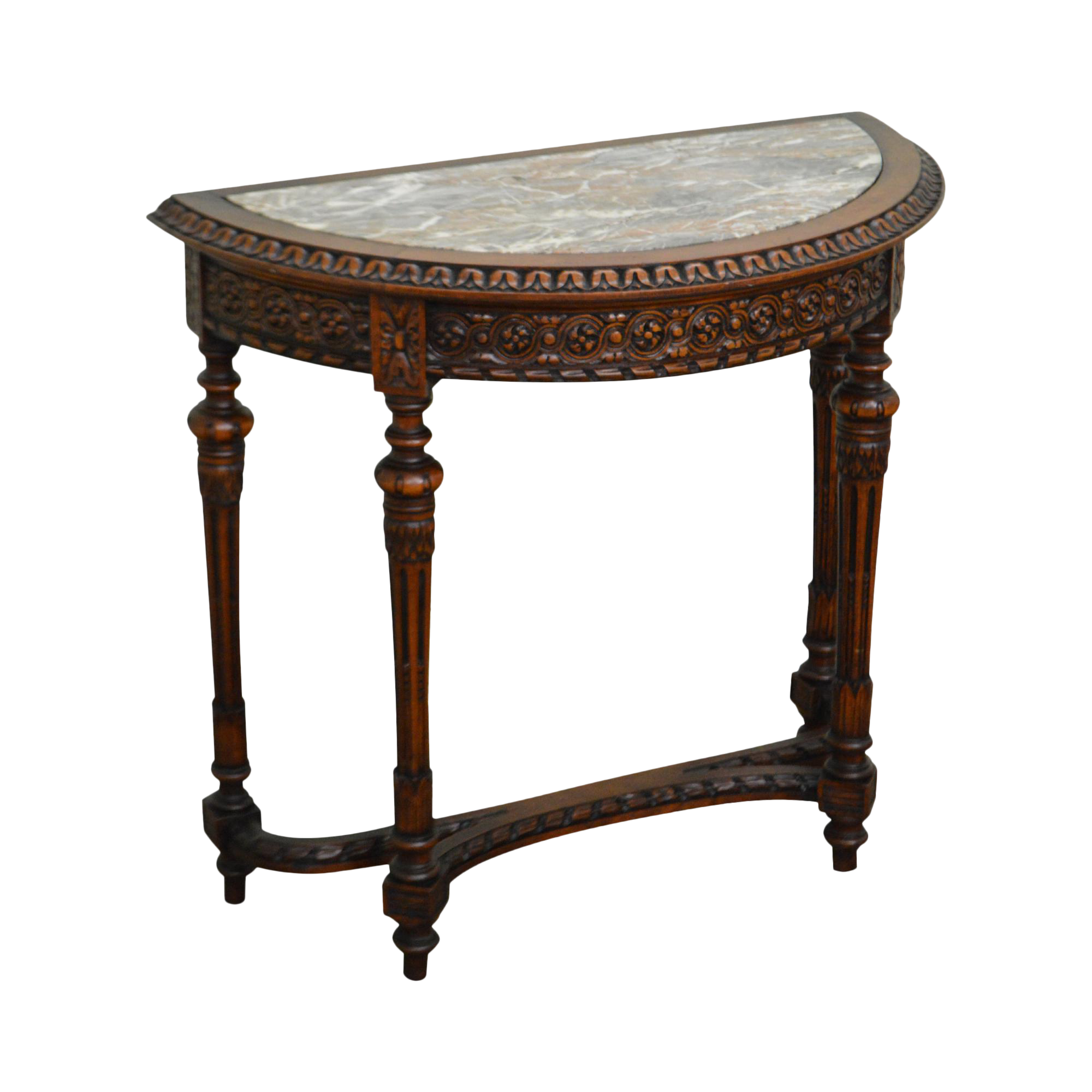 Antique French Louis XV Style Small Demilune Marble Top Console Table (A)