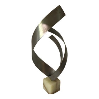 C. Jere Ribbon Sculpture on Onyx Base