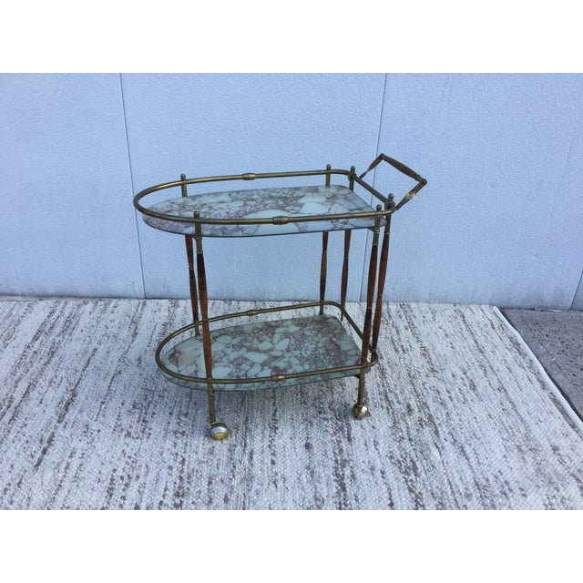 1950s Italian Brass & Walnut Bar Cart - Image 2 of 11