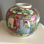 Image of Hand Painted Gold Leaf Asian Vase