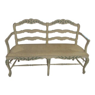 Hand Painted and Carved Woven Rush Seat Bench