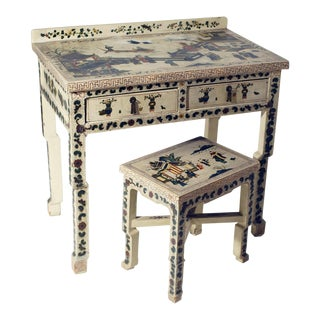 Hand Painted Chinoiserie Dresser or Desk