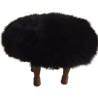 Black Lambskin Foot Stool