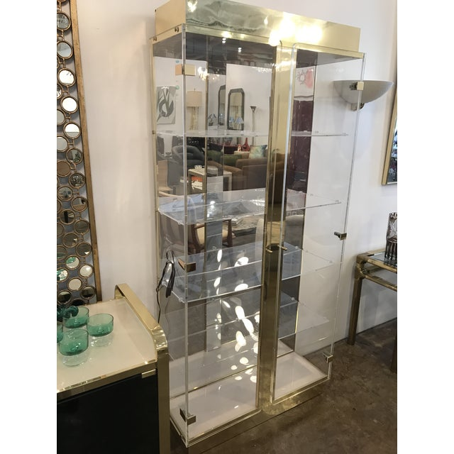 Tall Lucite, Mirror and Gold Tone Metal Cabinet with Upper and Lower Lighting - Image 4 of 10