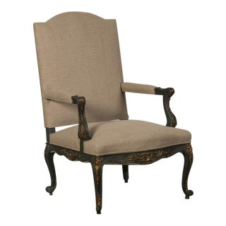Antique French Louis XV Style Painted and Gilded Armchair circa 1875