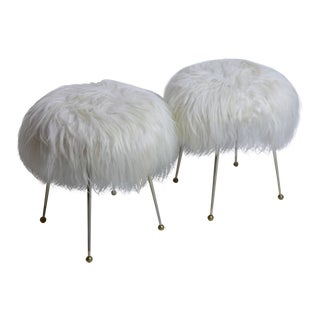 Pair of Vintage Fur Stools