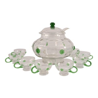 Bohemian Hand-Blown Clear & Green Glass Lidded Punch Bowl & Glasses - Set of 9