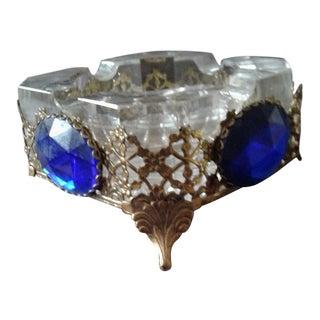 Vintage Crystal & Gold Ormolu 2-Piece Ashtray
