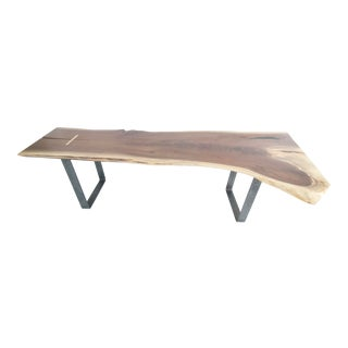 Industrial Modern Steel and Walnut Slab Coffee Table/Bench