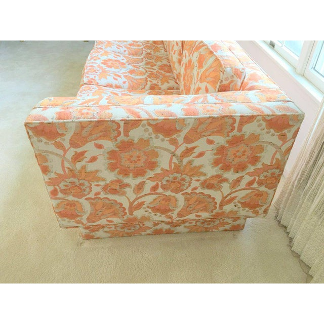 Mid Century Modern Milo Baughman Style Orange Indian Print Upholstery Plinth Base Sofa - Image 2 of 9