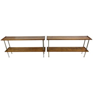 Pair of Wood and Steel Consoles from France