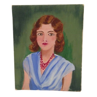Vintage Oil Painting - Girl on Green