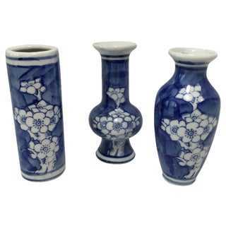 Blue & White Bud Vase Trio