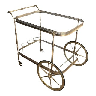 1940s French Brass and Clear Glass Bar Cart